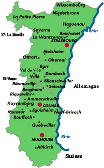 self catering accomodation on the map of alsace